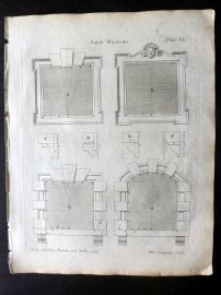 Langley 1777 Antique Architectural Print. Attick Windows 40